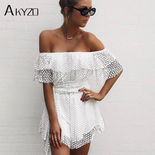 AKYZO 2017 Ruffles Slash Neck Beach Playsuits Summer Women Solid Strapless Jumpsuits Sexy Casual Playsuit Overalls With Belts