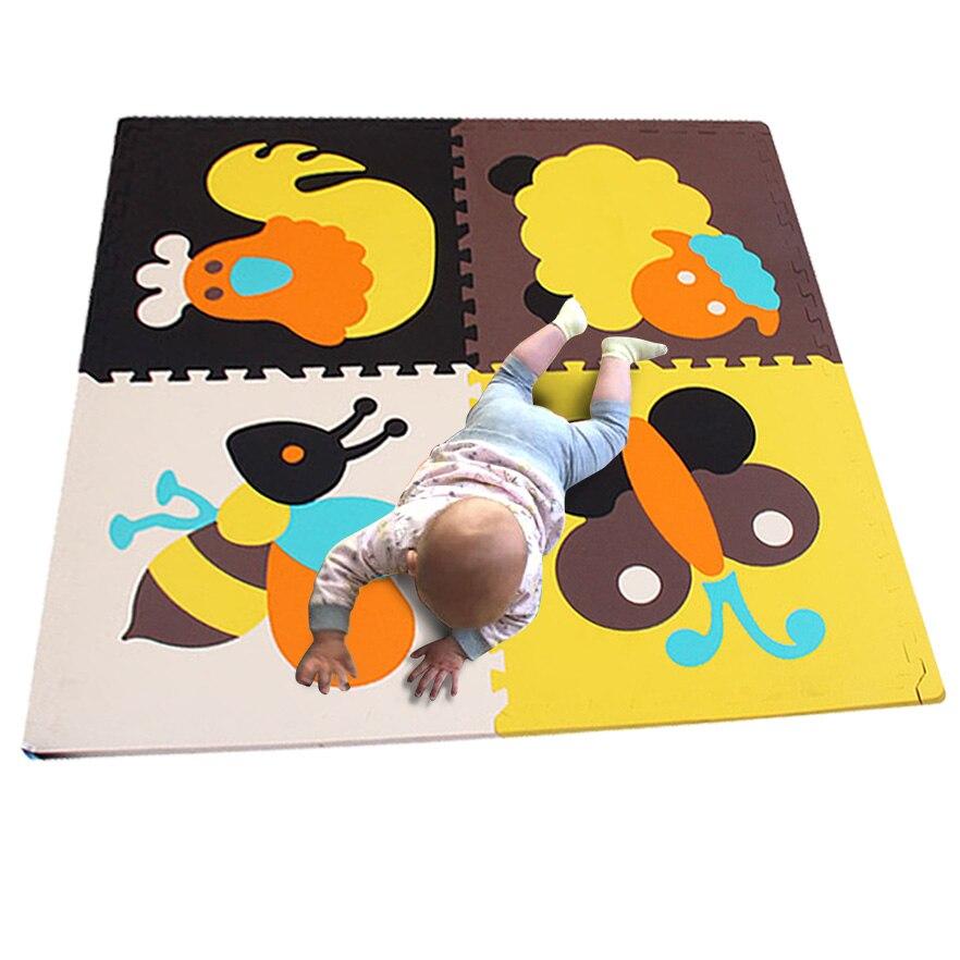4 pièces grande taille 60*60 2 cm épais bébé EVA tapis de sol coloré Puzzle tapis tapis écologique enfants jouer jeu Pad bébé ramper