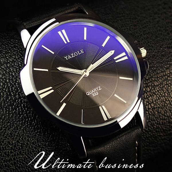 100% Original YAZOLE Luxury Blue Ray Shockproof Genuine Leather Round Dial Dress Quartz Wristwatch Watch for Men Male OP001