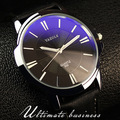 100% original yazole blue ray de luxo à prova de choque de couro genuíno rodada dial relógio para homens vestido de relógio de pulso de quartzo masculino op001