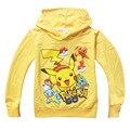 Дети толстовки для мальчиков Pokemon пуловеры толстовка балахон желтый синий весна осень мальчик одежды верхней одежды размер 4 5 6 7 8 лет