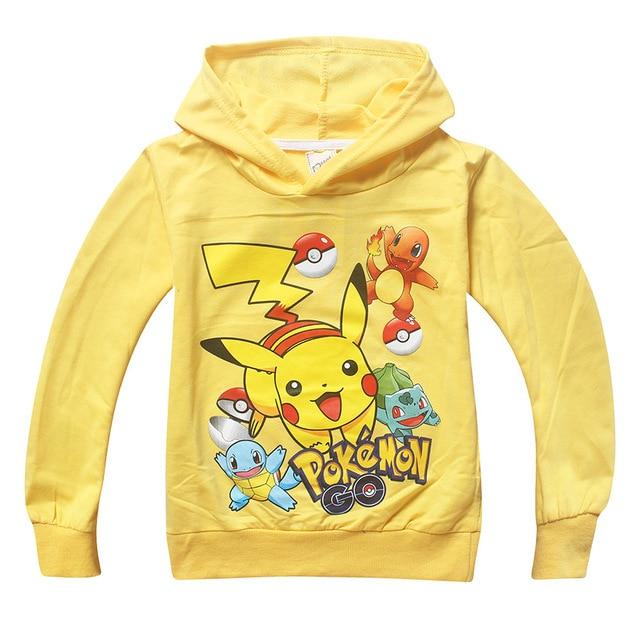 Sudaderas con capucha para niños Pokemon pulóver Sudadera con capucha  amarillo azul primavera otoño ropa para e70438b295f