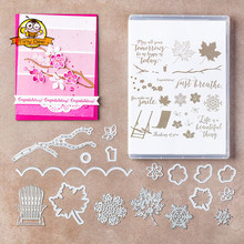 Colorful Seasons Flower Tree Die Clear Stamp and Dies Sets for Scrapbooking DIY Card Making Metal Cutting Stamps Set