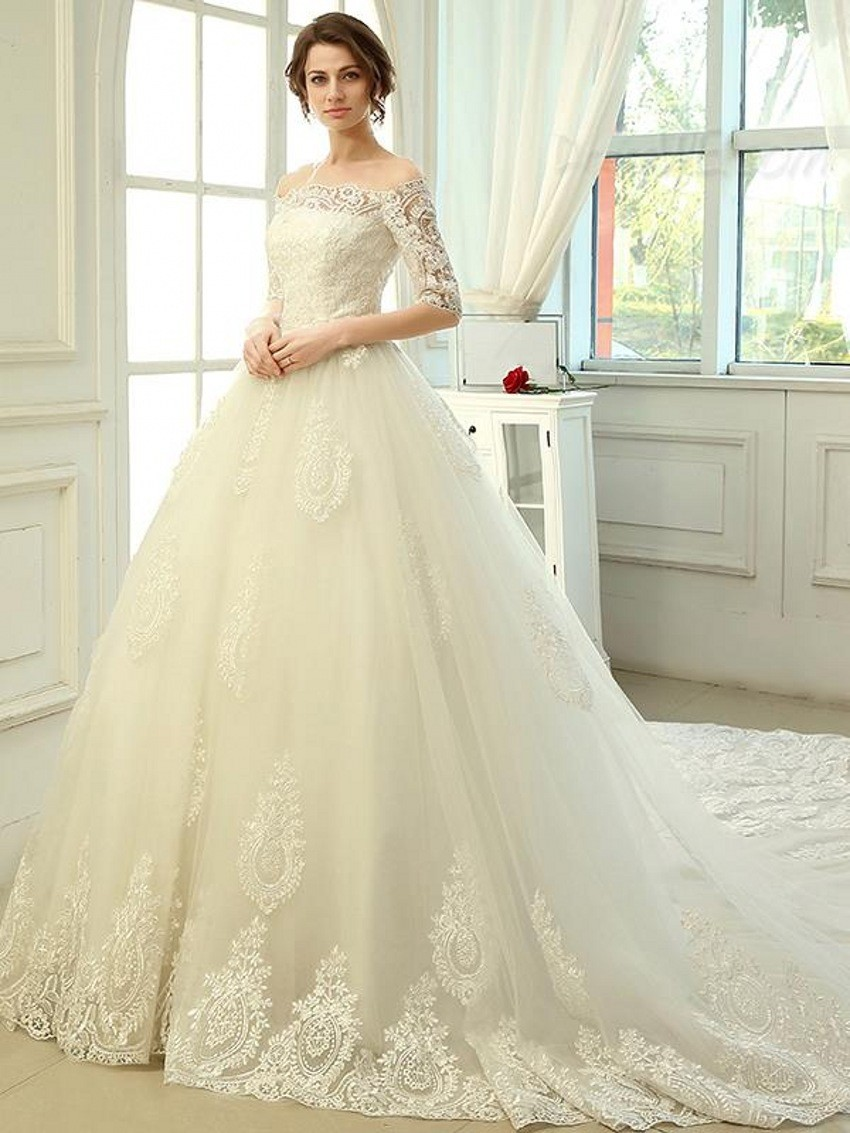Wedding Selling Wedding Dress compare prices on selling wedding gowns online shoppingbuy low 2017 romantic tulle long tail luxury women lace ball gown dresses with sleeves hot