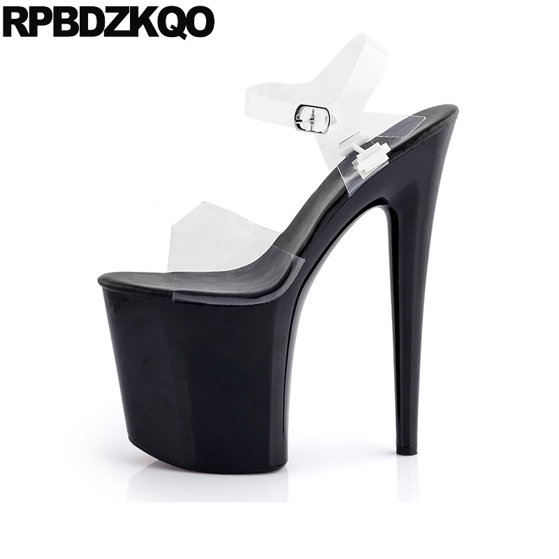 Stripper Pumps Women Stiletto Crossdressed Clear Strap Heels Shoes Platform Gothic High Transparent Large Size Sandals 11 Fetish sandals round toe t strap platform shoes big size women 11 43 high heels fetish thick black gothic ultra punk pumps 10 42 bar