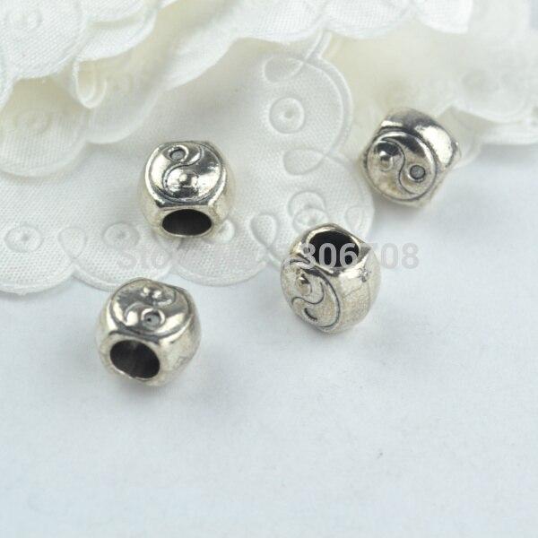 ᑎ‰50 unids metal tibetano encantos de plata tai chi patrón tallado ...