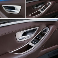 Stainless LHD Window Button Panel Inner Door Handle Bowl Cover Frame Decoration Trim 8pcs Set For