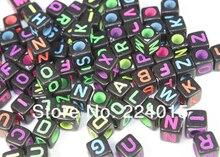 Free Shipping 500pcs/6*6mm Random Mixed Fluorescent Color Black Alphabet /Letter Acrylic Cube Beads Fit Bracelet & Necklace DIY