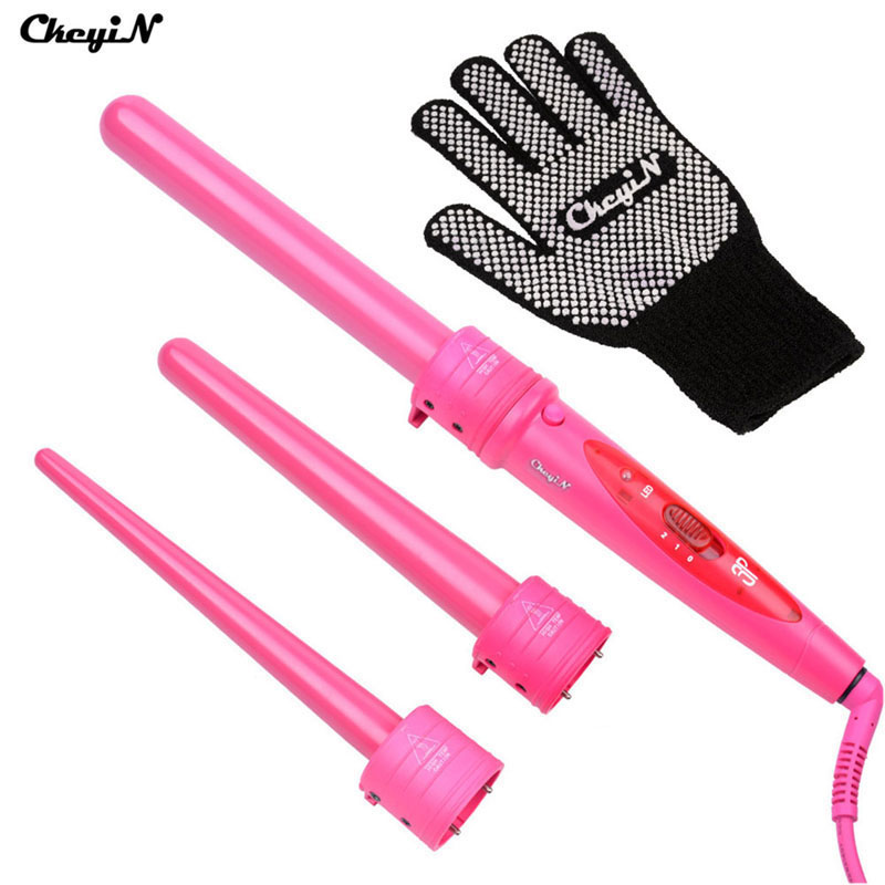 CkeyiN Pro Multifunction 3 Parts Curler Hair Curling Curlers Irons Tong Curl Wand Hair Curler Roller Gift Set With Glove HS54RQ 15 25mm ceramic bead hair curler roller 110 240v 60w hair curling irons professional ptc heating curl hair style tool with glove