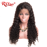 RXY Deep Wave Wigs 8 24inch Glueless Lace Front Human Hair Wigs For Black Women Non