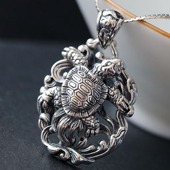 Retro Thai Silver Jewelry Hip Hop Style Silver Pendant S925 Sterling Silver Pendant Handmade Turtle Pendant Male And Female