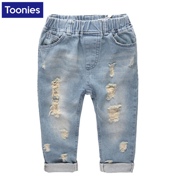 Boys Fashion Ripped Jeans Baby Boy Hole Denim Jeans 2017 New Arrival Boys Trousers Children Casual Pants Children Clothing
