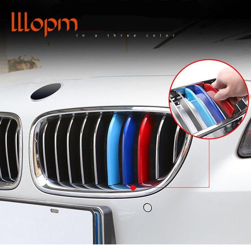 M samochodów przedni grill wykończenia paski pokrywa Motorsport naklejki do BMW F30 F10 X5 E70 F16 X6 E71 X1 X3 X4 G30 f34 E39 2 3 5 7 serii
