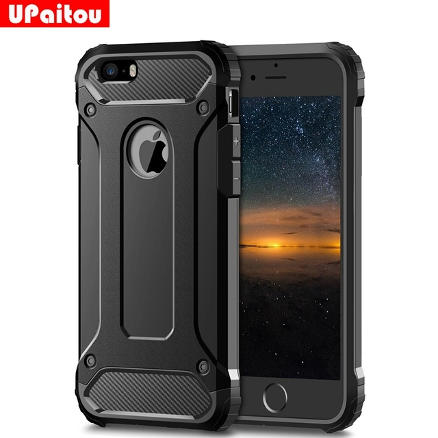 big sale 2b4da 6f430 US $2.99 25% OFF|UPaitou Rugged Layer Armor Case for iPhone 5S Case Heavy  Duty Shockproof Cases Cover for iPhone 5S 5 SE Hybrid Hard PC TPU 2in1-in  ...