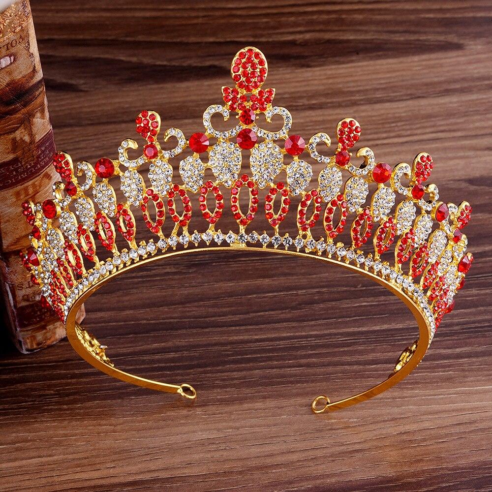 Gold Bridal Crown Crystal Wedding Hair Accessories Bridal Tiara Noble Gold Tiara Rhinestone Bridal Crown Wedding Headdress Hair