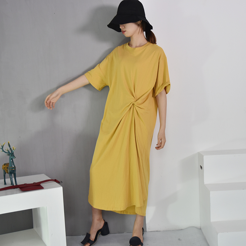 [EAM] 2018 New Summer Round Neck Shrot Sleeve Black Waist Fold Knot Splti Joint Loose Irregular Dress Women Fashion Tide S206