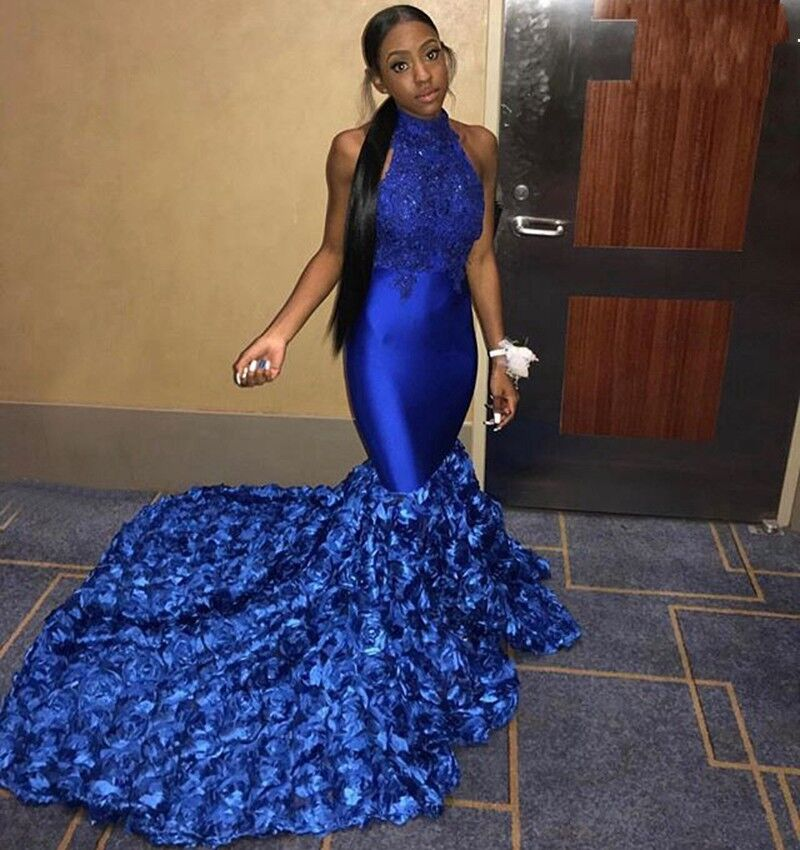 Royal Blue Mermaid Long Prom Dress Halter Flowers Lace Appliques Black Girls Formal Evening Party gowns Custom Made