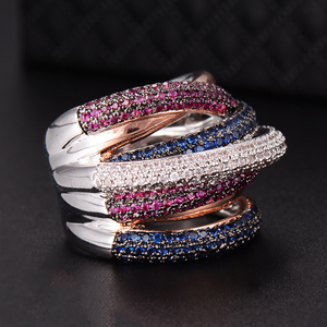 Image 4 - GODKI Berühmte Marke Luxus Kreuz Geometrie Cubic Zironium Engagement Dubai Unisex Ringe Braut Finger Ring Schmuck