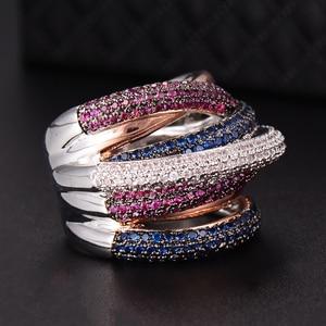 Image 4 - GODKI znane marki luksusowe krzyż geometria Cubic Zironium zaręczyny dubaj Unisex pierścionki biżuteria dla nowożeńców palec serdeczny