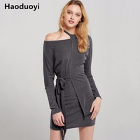 Haoduoyi Solid Grey Women Sexy Asymmetrical Dress Cold One Shoulder Lace Up Waist Female Casual Vestidos