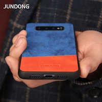 Phone Case For Samsung S10 Plus S7 S8 S9 Note 8 9 A5 J5 J7 2017 A7 A8 J6 2018 Denim Canvas Stitching Unique Beveled Design Cover