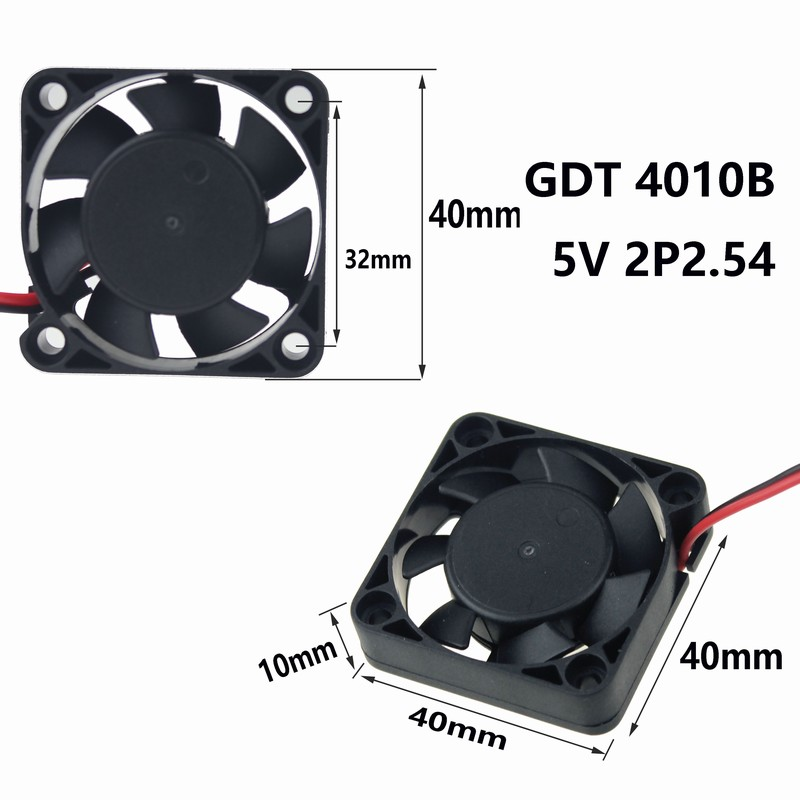 2 Piece Gdstime New Ball Bearing 4010 Small DC 40mmx40mmx10mm 4cm 5V 0.1A 7 Blade 3D Printer Fan Brushless Cooling PC CPU Cooler
