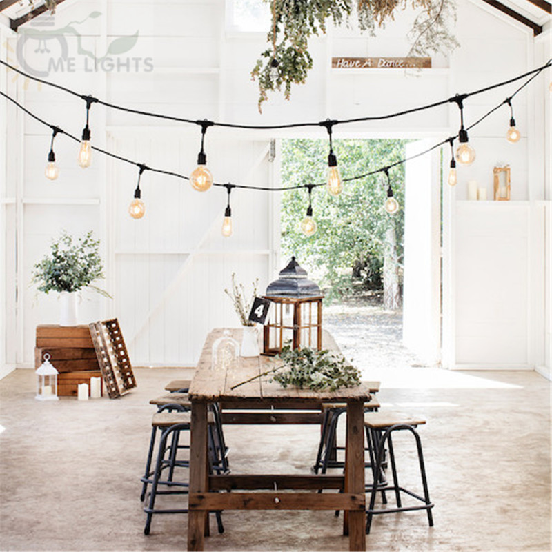 10m Drop String Festoon lights with 10 Vintage LED Fairy Bulbs Lights for Wedding Party Garden Cafe Bar Garland Decoration10m Drop String Festoon lights with 10 Vintage LED Fairy Bulbs Lights for Wedding Party Garden Cafe Bar Garland Decoration