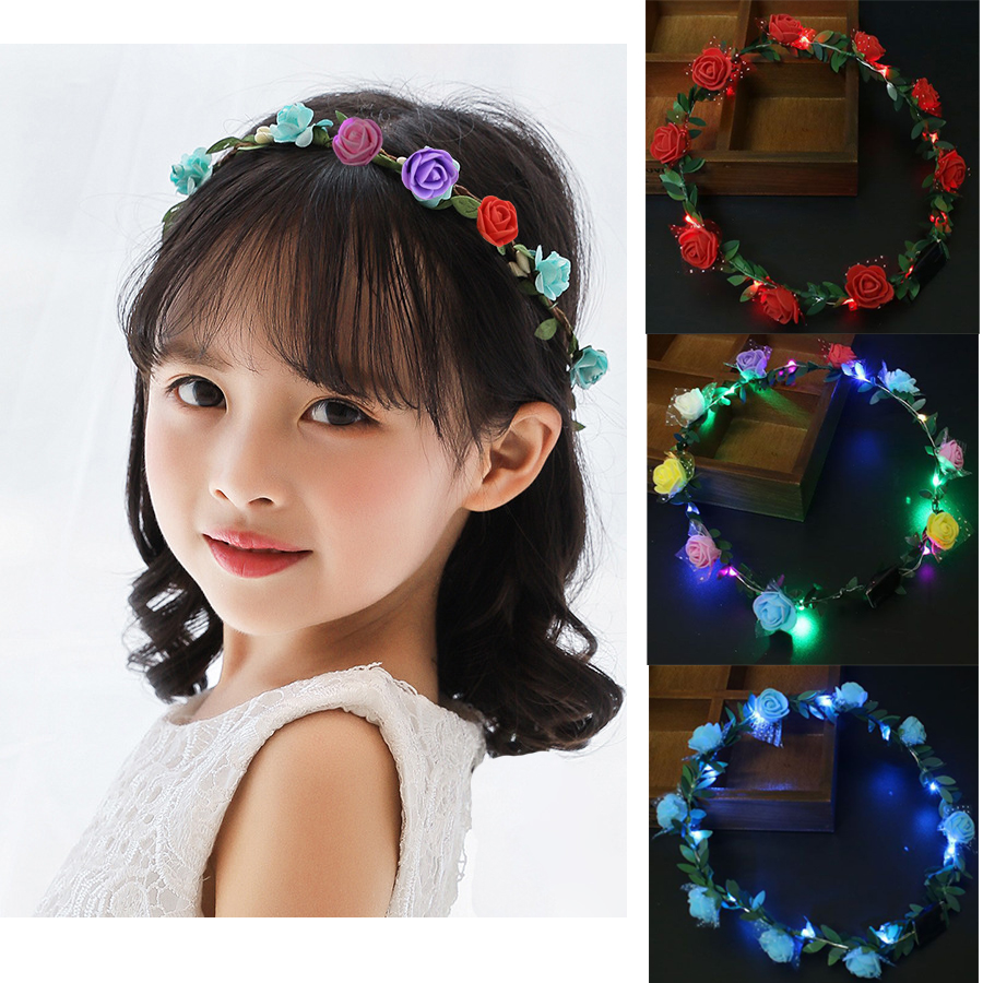 1pc Flashing LED Glow Flower Crown Headbands Light Party Rave Floral Hair Garland Wreath Wedding Flower Girl Headpiece Deco DS19