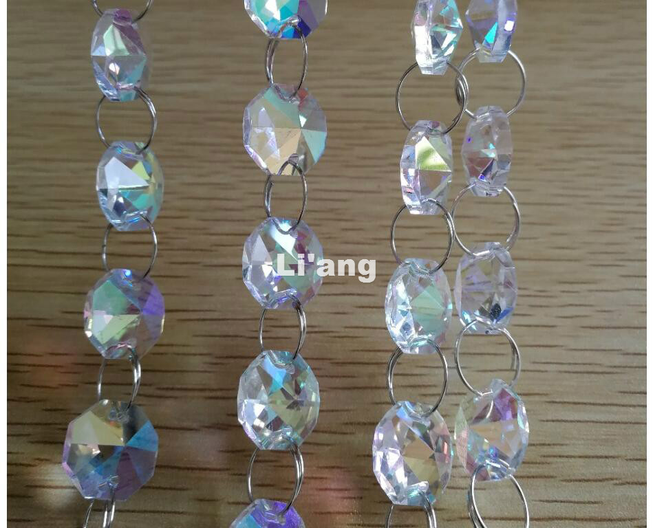 Free Shipping New AB Color 10Meters 14mm Octagon Chain Wedding Party K9 Crystal Strand Garland Beads Decoration Chandelier Lamp