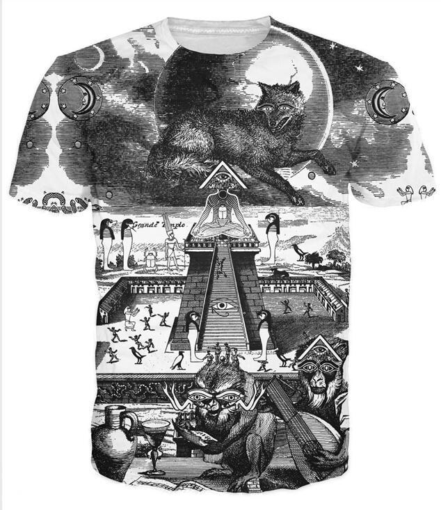 Grande Temple T-shirt Egyptische symboliek zoals het oog van Horus 3d - Herenkleding