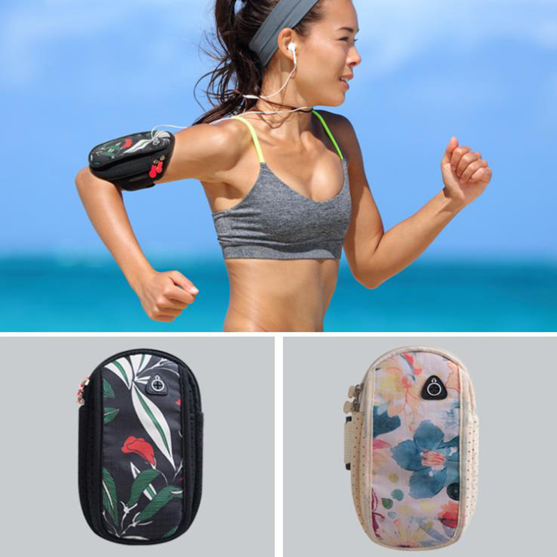 INHO CHANCY Printing Floral Unisex Zipper Cylindrical Travel Arm Bag Coin Purse Casual Small Cellphone Bag Sac Bolsa Feminina
