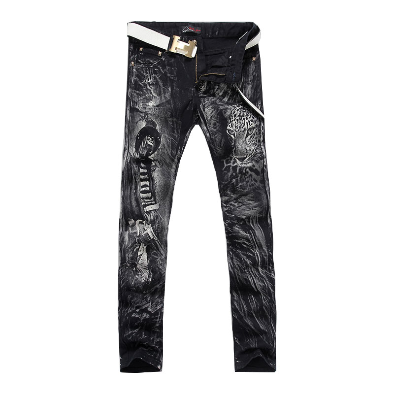 2017 The New Men'S Fashion Panther Print Jeans Male Cool Boy Printed Slim Fit Straight Black Denim Pants