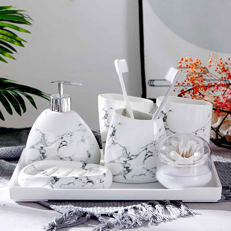 6pcs Marble Pattern Ceramics Bathroom Decor Set Ceramic Simple Toothbrush Holder Soap Dispenser Bathroom Wash Set