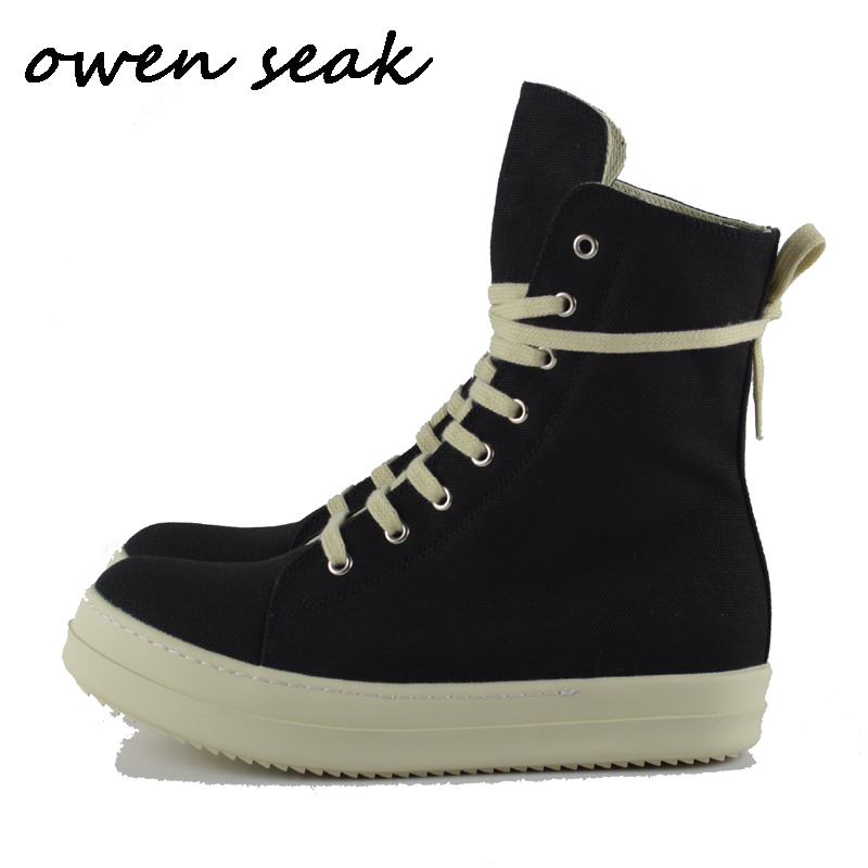 Owen Seak Men Canvas Shoes Fashion Luxury Trainers Ankle Boots Lace Up Casual Sneaker Brand Zip