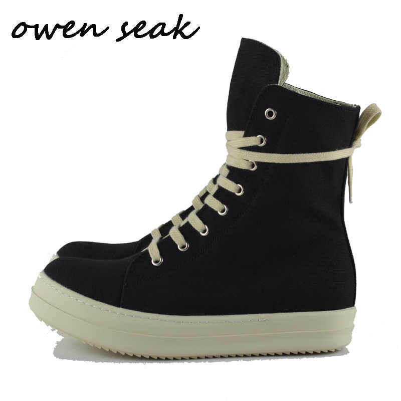 Owen Seak Mannen Canvas Schoenen Mode Luxe Trainers Enkellaarsjes Lace Up Casual Sneaker Merk Zip High-TOP Platte zwarte Schoenen