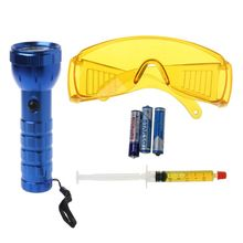 Car R134A R12 Air Conditioning A/C System Leak Test Detector Kit 28 LED UV Flashlight Protective Glasses Tool Set