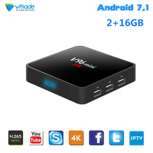 Vmade Smart Mini TV Box HD 4K Allwinner H3 Quad Core Android 7.1 2GB + 16GB 1.5GHz WiFi Netflix IPTV Google TV Media Player Box t95x android 7 1 tv box s905x quad core 2gb ram 16gb rom smart tv 2 4g wifi hd 4k smart media player