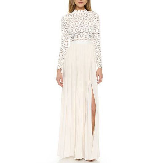 5efd75b97ece Women Sexy White Pleated Crochet Floral Long Sleeve Crochet Lace Maxi Bridal  Dress For Wedding Party Bridemaid clothes S27-in Dresses from Women's  Clothing ...