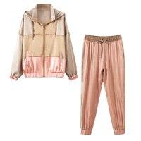 Комплект из двух предметов, топ и штаны, Новинка осени 2019 года, модная цветная куртка с капюшоном + эластичный шнурок на талии, штаны для бега