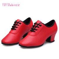 Ballroom của phụ nữ Giày Khiêu Vũ của Giáo Viên Bằng Sáng Chế Giày Da 5 cm Gót Chân Giữa Cô Gái Tango Latin Dance Shoes Đỏ đen 7328