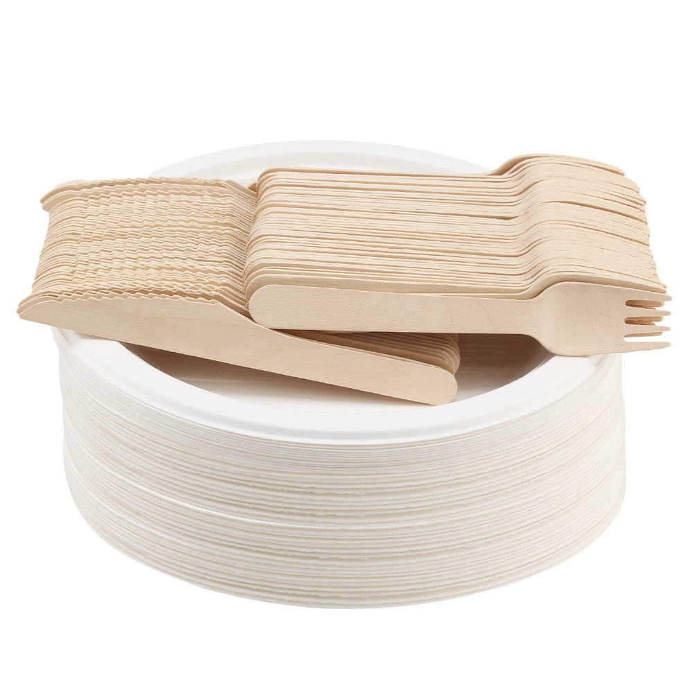 Disposable Wooden Cutlery Sets, 150 Piece 6 inch Length Eco Friendly Biodegradable Compostable Utensils Wood Flatware for Party