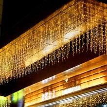 ЕС 220 в 5 м 96 Светодиодный s Рождественская гирлянда светодиодный светильник-Гирлянда для занавесок в виде сосульки для помещений вечерние светильники для сада и сцены наружный декоративный светильник