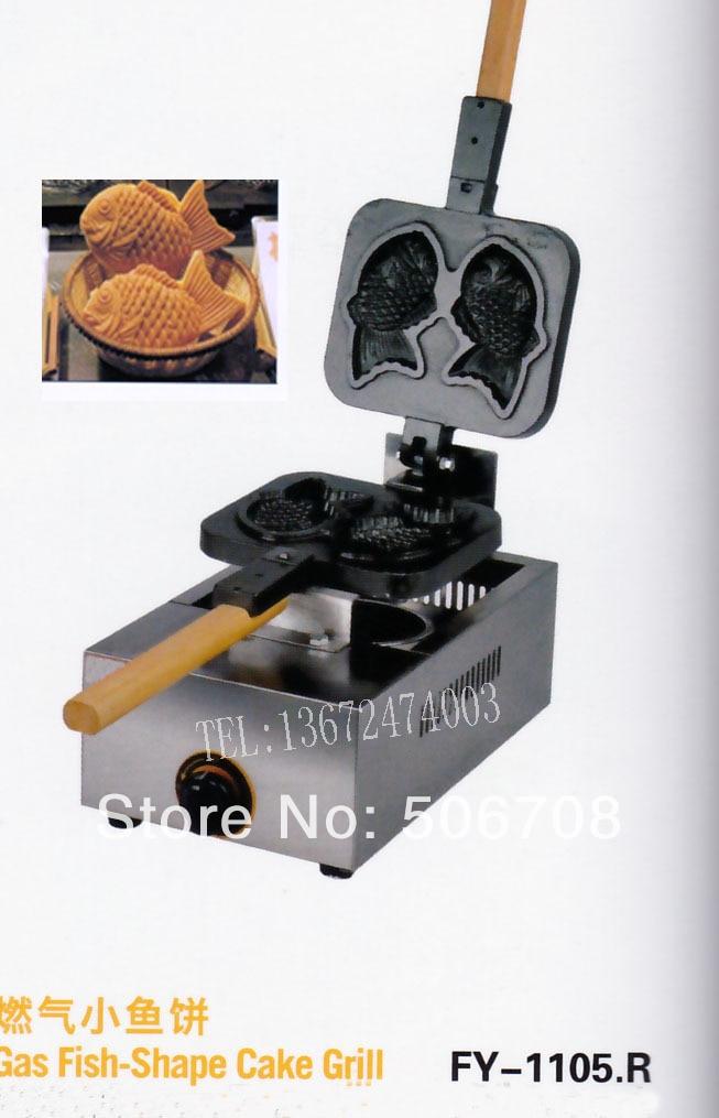 free shipping~Gas type Fish Waffle Maker/ 2 pcs Taiyaki machine free shipping gas type 3 pcs fish taiyaki maker machine with recipe fish waffle baker