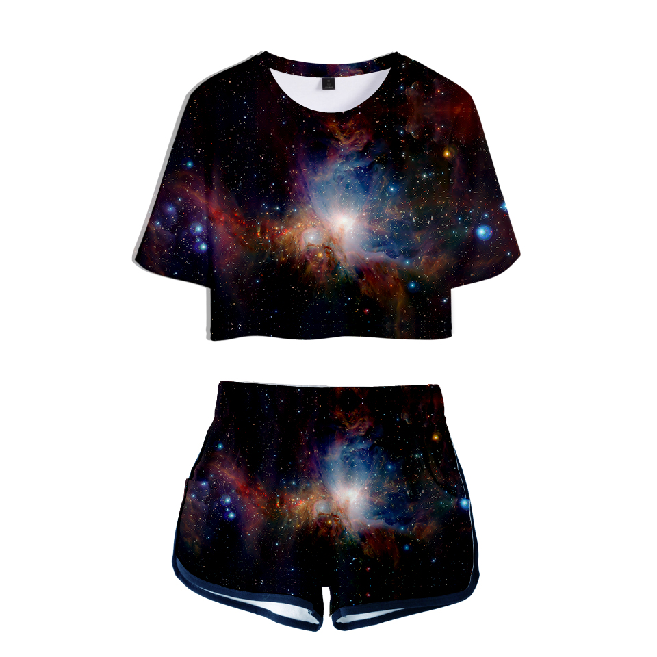 LUCKYFRIDAYF New 3D Starry Sky Summer Shorts And T-shirts Women Two Piece Sets Funny Skull Print Crop Top Clothes 2XL