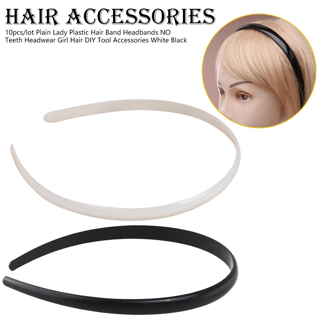 10pcs/lot Plain Lady Plastic Hair Band Headbands NO Teeth Headwear Girl Hair DIY Tool Accessories White Black