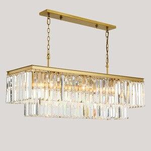 Image 4 - Candelabros cuadrados de cristal dorado para restaurante, comedor, dormitorio, sala de estar, bombillas LED