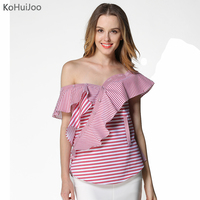 KoHuiJoo Summer Red Striped Blouses Women Slim Casual Ruffle Slash Neck Off Shoulder Blouse Shirts Fashion