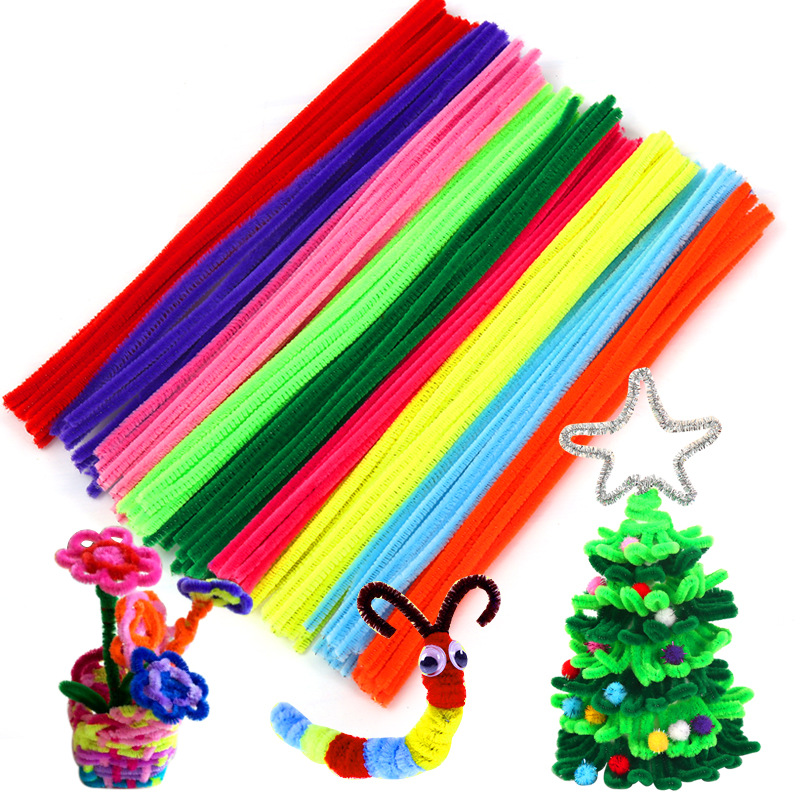 100pcs Montessori Materials Chenille Handmade Material DIY Kindergarten Children Educational Toys For Kids Colorful Toys BS55