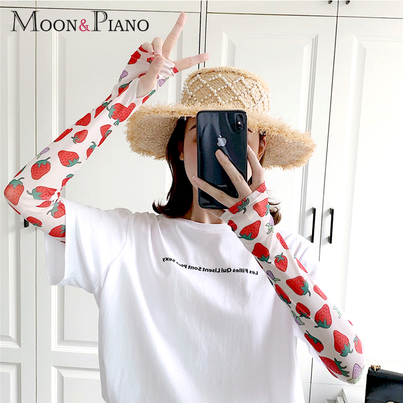 Ladies Summer Outdoor Sunscreen Arm Sets Long Mitts Protection Hand UV Protection Breathable Cool 2019 Korean Fashion Colorful