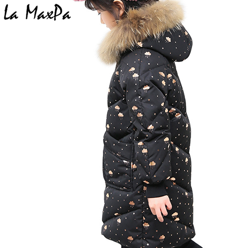 Girls winter jacket Korean 5-11 years old girls down coats girl winter fur collar children's parkas hot Flower print hooded цена 2017